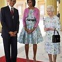 Karalienė Elizabeth II su JAV prezidentu Baracku Obama ir jo žmona Michelle
