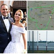 Jogaila ir Indrė Morkūnai su vestuvių svečiais aplink Vilnių skrido širdies formos maršrutu
