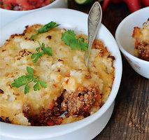 Maltos mėsos apkepas su grūstomis bulvėmis ir žiediniais kopūstais