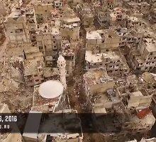 Dronu nufilmuota, kaip atrodo nuniokotas Sirijos miestas
