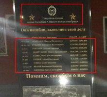Memorialinėje lentoje Čečėnijoje – Ukrainoje žuvusių karių pavardės