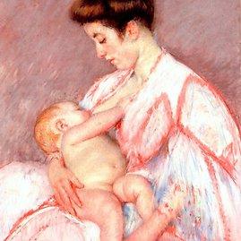 Mary Cassatt. kūdikio John žindymas