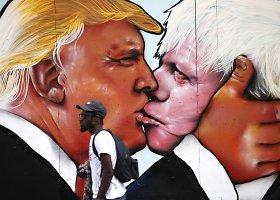 Donaldo Trumpo ir Boriso Johnsono bučinio piešinys Bristolyje
