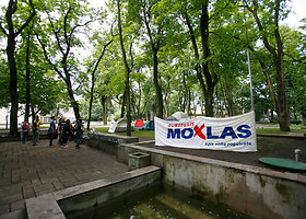 Kauno centre protestuotojai įkūrė palapinių miestelį