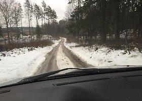"""Lenktynininkų susipažinimas su """"Halls Winter Rally"""" trasa"""