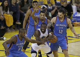 """""""Warriors"""" dramatiškai žengė į NBA superfinalą"""
