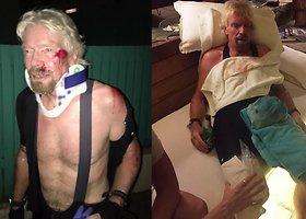 Richardas Bransonas su dviračiu pateko į avariją
