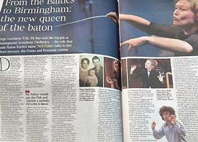 """Mirga Gražinytė-Tyla laikraščio """"The Times"""" tituliniame puslapyje"""