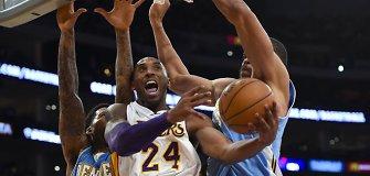 """NBA: Kobe Bryanto vedamas """"Lakers"""" tik po pratęsimo krito prieš """"Nuggets"""""""
