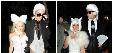 Helovino kostiumų dvikova: kas geriau įkūnijo Karlą Lagerfeldą ir jo katę Choupette?