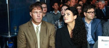 LKL sezono atidarymo šventėje Šarūnui Marčiulioniui draugiją palaikė žmona Laura