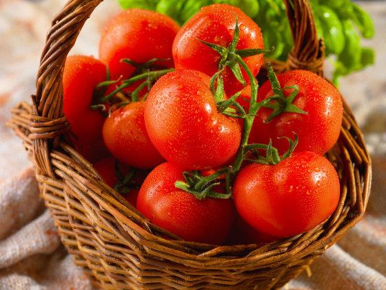 Fotolia nuotr./Krepšelis raudonskruosčių pomidorų