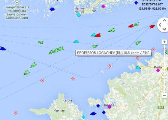"""Marine traffic iliustr./Suomijos įlankoje pastebėtas Rusijos gelbėjimo laivas """"Profesor Logačiov"""""""