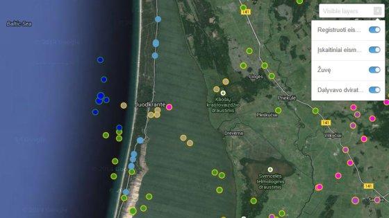 """Žemėlapyje pažymėtos automobilių """"avarijos"""" Baltijos jūroje"""