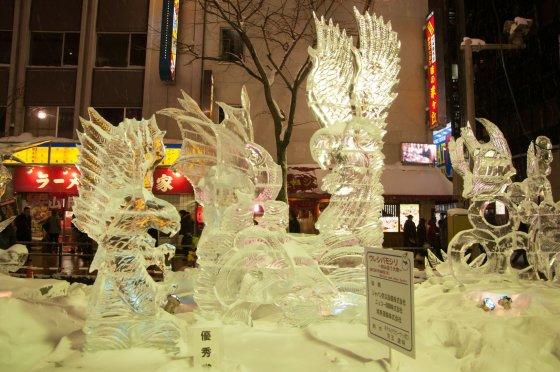 Saporo ledo skulptūrų festivalio eksponatas