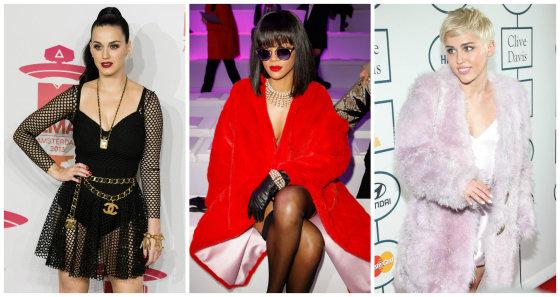 """Scanpix"" nuotr./Katy Perry, Rihanna ir Miley Cyrus"