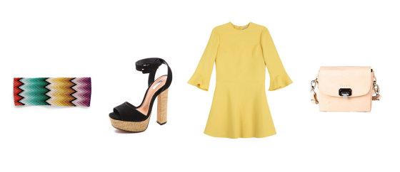"""Gamintojų nuotr./""""Missoni"""" raištis plaukams, """"Shopbop"""" basutės, geltona """"Valentino"""" suknelė, pastelinis rausvas """"Boticca"""" rankinukas."""