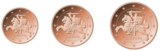 LB nuotr./1,2,5 centų monetos