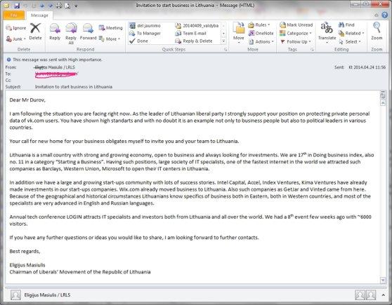 Laiškas Durovui