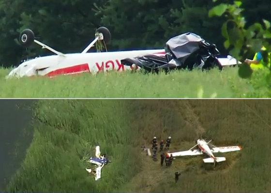 Kadras iš TVN24 reportažo/Lenkijoje, netoli Radomo miesto, susidūrė du lėktuvai