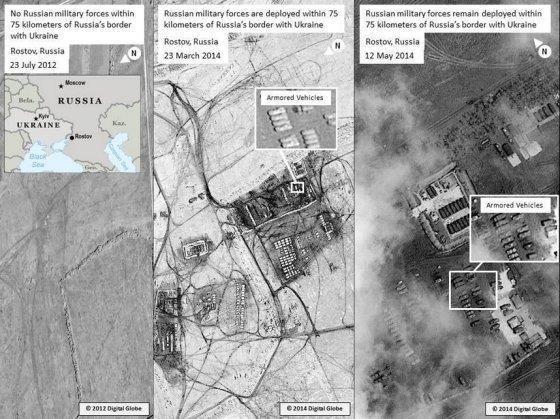 JAV valstybės departamento paviešintose palydovinėse nuotraukose matyti rusų kariai Rostove prie Dono