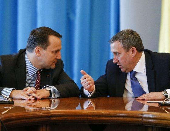 """AFP/""""Scanpix"""" nuotr./Lenkijos užsienio reikalų ministras Radoslawas Sikorkis ir Ukrainos užsienio reikalų ministras Andrijus Deščycia"""