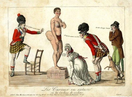 XIX amžiaus prancūzų karikatūra/Sarah Saartjie Baartman