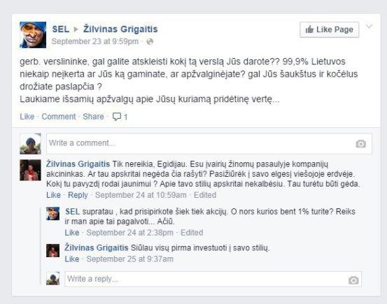 Facebook nuotr./Egidijaus Dragūno ir Žilvino Grigaičio susirašinėjimas