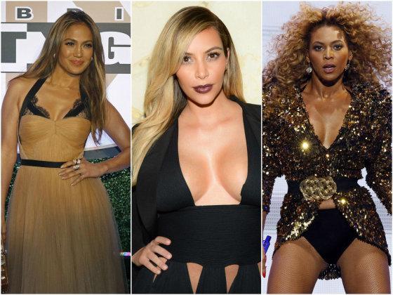 """""""Scanpix"""" nuotr./Iš kairės: Jennifer Lopez, Kim Kardashian ir Beyonce."""