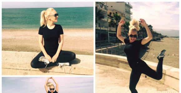 Oksana Pikul per nėštumą pakitusias kūno linijas tobulina Sicilijos pakrantėje: dar liko 6 kg
