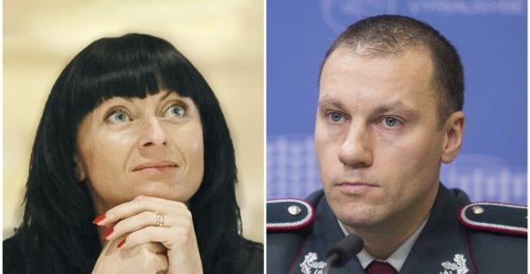 15min konferencijoje – policijos vadovas Linas Pernavas ir policijos profsąjungos lyderė Roma Katinienė