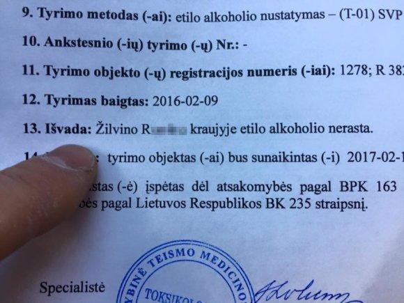 """Žilvino R. nuotr. iš """"Facebook""""/Vairuotojo kraujo tyrimo rezultatai"""