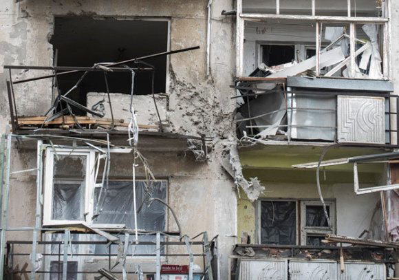 Ukrainos gyventojų nuotr./Apšaudytas Mariupolis