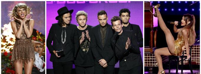 """Ant Amerikos muzikos apdovanojimų scenos karaliavo merginos, tačiau daugiausia apdovanojimų susižėrė """"One Direction"""""""