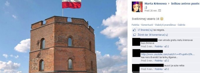 """Vasario 16-osios provokacija tinkle """"Facebook"""": Lenkijos vėliava ant Gedimino pilies"""