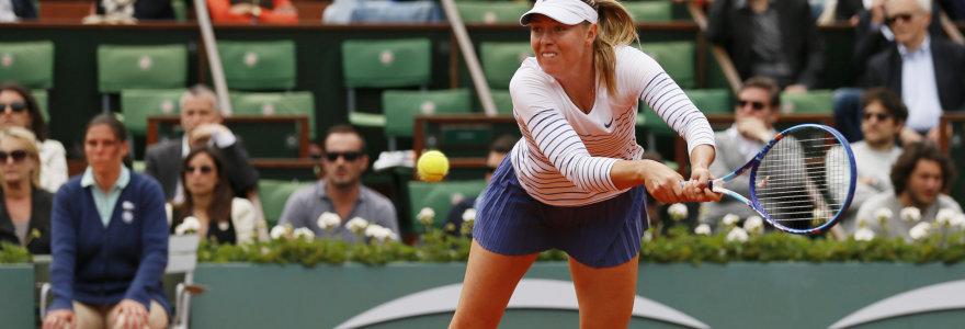"""""""Roland Garros"""" čempionės titulą ginanti Marija Šarapova pateko į aštuntfinalį"""