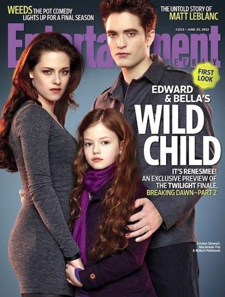 """Kristen Stewart, Mackenzie Foy ir Robertas Pattinsonas ant """"Entertainment Weekly"""" viršelio"""