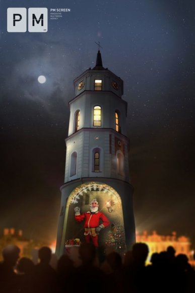 Gruodžio 25–30 dienomis Vilniaus Katedros varpinės bokšte apsigyvens didelis interaktyvus 3D animuotas Kalėdų Senelis.